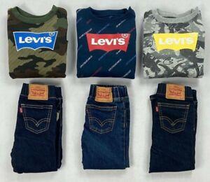 Infant Baby Boy's Levi's Sweatshirt and Jeans Pants 2 Piece Set Outfit