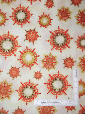 Christmas Snowflakes Red Geen Gold Cotton Fabric Grandeur 15886 Kaufman - YARD
