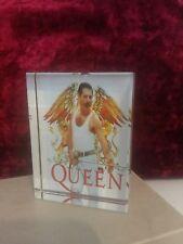 Rare Crystal Photo Block Of Queen Freddie Mercury 8x6cm