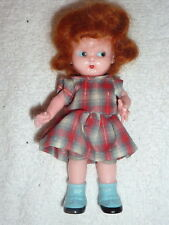 "Plastic 6"" Knickerbocker Side-Glance Eyes Rattle Doll Red Hair w/ strung Arms B7"