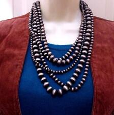 South Western Navajo Style Pewter Pearl Beads Five Strand Layered Necklace Set