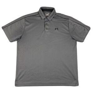 Under Armour Loose Heat Gear Mens XL Gray Short Sleeve Polo