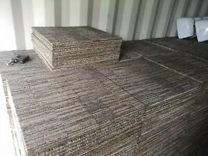 JOBLOTS OF 100 x THICK BROWN GREY STRIPED MILLIKEN CARPET TILES FOR £120