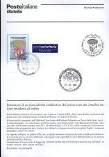 ITALIE 2006 VOTE DES RESSORTISSANTS BULLETIN COMPLET DE TIMBRES ANNULATION FDC