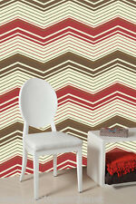 Red, Brown,Gold & Cream, Zig Zag Patterned Wallpaper ***£8.99 inc P&P***