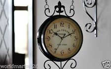 European Iron Clock Face 19 CM Mute Parlor Bedroom Two-Sided Wall Clock