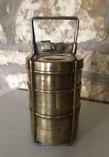 Brass Tiffin Tin / Dabba Vintage By Kapoor Stacking Tins In Carry Case Handle