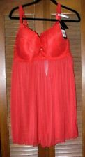 NWT, $45.00, Sexy Daisy Fuentes Sheer Red Babydoll Nightie Lingerie Size 2X