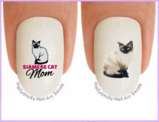 Nail Art #2054 CATS Siamese Cat MOM WaterSlide Nail Decals Transfers Stickers