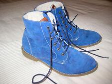 S.OLIVER Schnür Stiefel WINTER blau Velour LEDER Chukka BOOTS Gr. 38 Top Schuhe
