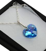 925 Silver Necklace *AQUAMARINE AB* 10-18mm Heart Crystals from Swarovski®