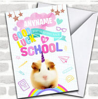 Cute Unicorn Hamster Going Back To School Customised Good Luck Card