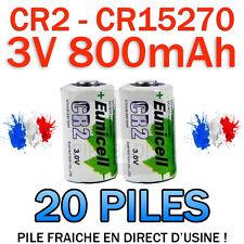 LOT DE 20 PILE ACCU BATTERIE CR2 LITHIUM (CR15270) 3V 800mAh EUNICELL CR2 CR-2