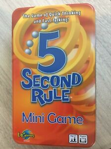 5 SECOND RULE MINI GAME quick thinking fast talking (c) 2018 ages 8+ TIN BOX