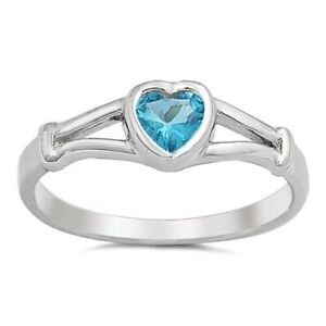 Heart Ring Genuine Sterling Silver 925 Baby Aquamarine Face Height 5 mm Size 2