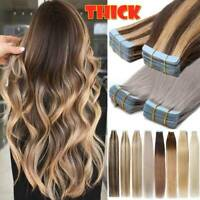 Tape In FULL HEAD Virgin/Remy Human Hair Extensions Highlight Curling Skin Weft