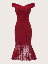 schulterfreies Cocktailkleid Meerjungfrau Party Dress Abendkleid rot Gr. 48