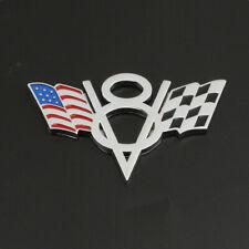 Silver V8 American US USA Flag Chrome Metal Front Emblem Badge For Chevrolet Car
