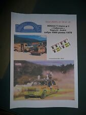 Mc43 Decal Add 1 43 - Renault 5 gr 2 Ragnotti Frequelin Rallye 1000 Pistes 1978