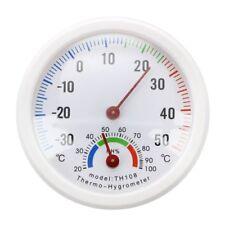 Thermometer Hygrometer Nadel rundes Zifferblatt PRueFER innen aussen weiss Z6F7