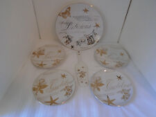 1995 Boston Warehouse Gold & White Holiday Porcelain Dessert Serving Set