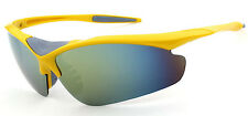 Mohawk Sunglasses SPEED Yellow with Mirror Lens Full Wrap Cycling Y116
