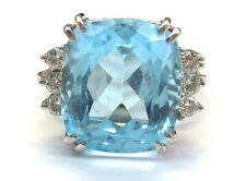 14k White Gold Blue Topaz Cocktail Ring With Diamond Accents