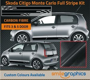Skoda CItigo Monte Carlo Stripe Kit Stickers - Avery Black Supreme Carbon Fibre