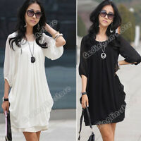 Womens 3/4 Sleeve Loose Casual Business Office Wear Evening party Mini Dress