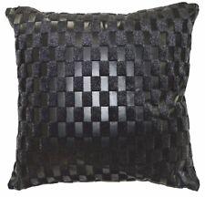 Sb215a Black Faux Leather Black Faux Fur Cushion Cover/Pillow Case Custom Size