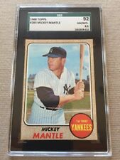 1968 TOPPS SGC 92 8.5 MICKEY MANTLE GRADED NM/MINT #280 PERFECT CARD!! BGS PSA