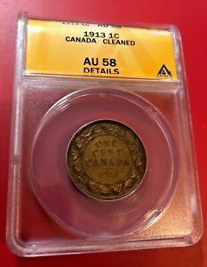 1913 CANADA LARGE CENT ANACS AU 58 DETAILS CLEANED