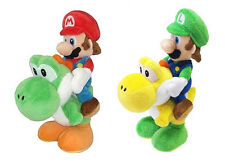 Official USA New Set of 2 Super Mario Plush Doll - Mario & Luigi Riding on Yoshi