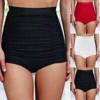 Women High Waist Bikini Ruched Swim Shorts Bottom Tankini Tummy Control Swimwear