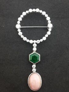 Green Hexagon Dangling Pink Opal Art Deco Style Bezel Set Circle CZ Brooch Pin