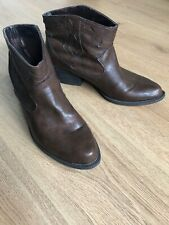 TAN BROWN FAUX LEATHER ANKLE WESTERN COWBOY BOOTS SIZE 7 / 41