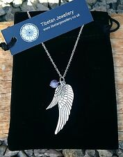 PROTECTIVE Angel Wing Silver Necklace with Dream Amethyst Bead and Gift Pouch