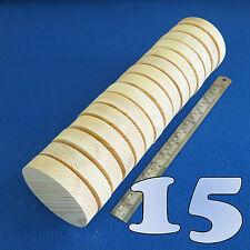 "LOT of 15 CIRCLE 4.0"" / 100 mm WOODEN BLOCKS BUNDLE SET PINE WOOD NATURAL DISCS"