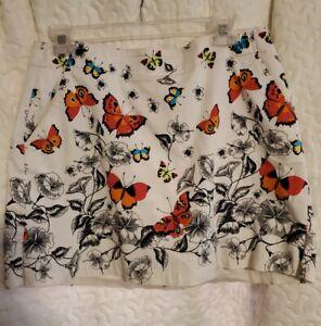 Lady Hagen  Butterfly Golf Skort Women's size 8 Multicolor Pocket Zip
