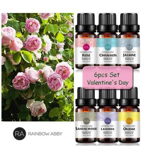 6er Set Naturrein Ätherische Öl für Aromatherapie Sandelholz Rose Zimt Lavendel