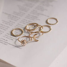 7pcs/set Knuckle Midi Rings Sun Moon Combination Thin Ring Jewelry Gift New