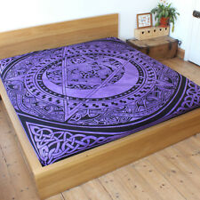 Fair Trade Purple New Celtic Pentacle throw Double Bed spread Pentagram Wiccan