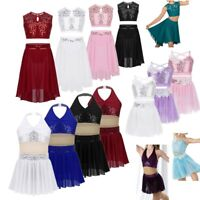 Kids Girls Sequined Lyrical Costume Ballet Latin Dance Dress Modern Leotards