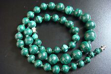 VINTAGE RARE AFRICAN GREEN MALACHITE BEAUTIFUL DESIGN STYLE STRAND NECKLACE