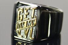 Herren Ring Siegelring schwarz gold GET ON MY LVL Edelstahl 63, Neu; K66 413