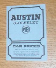 Austin Wolseley MG Price List 1972 - MG MGB GT Mini Wolseley Six 1300 1800