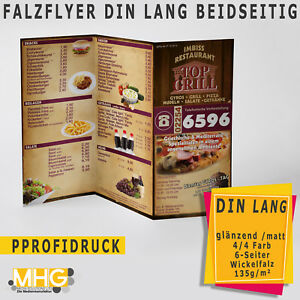 DIN Lang Falzflyer drucken , Flyer · 6-seitig Wickelfalz 135g /m²  1000 Stück