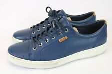 Ecco Men's Casual Fashion Sneakers Blue Leather Size 46 US 12-12.5 Extra Width