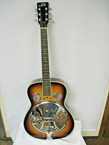 Morgan Monroe Round Neck Spider Resonator Acoustic Guitar with Hard Shell Case
