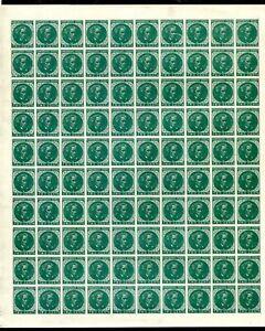 Confederate States 2c Green Calhoun Sheet of 100 Reprint. Gummed. MNH